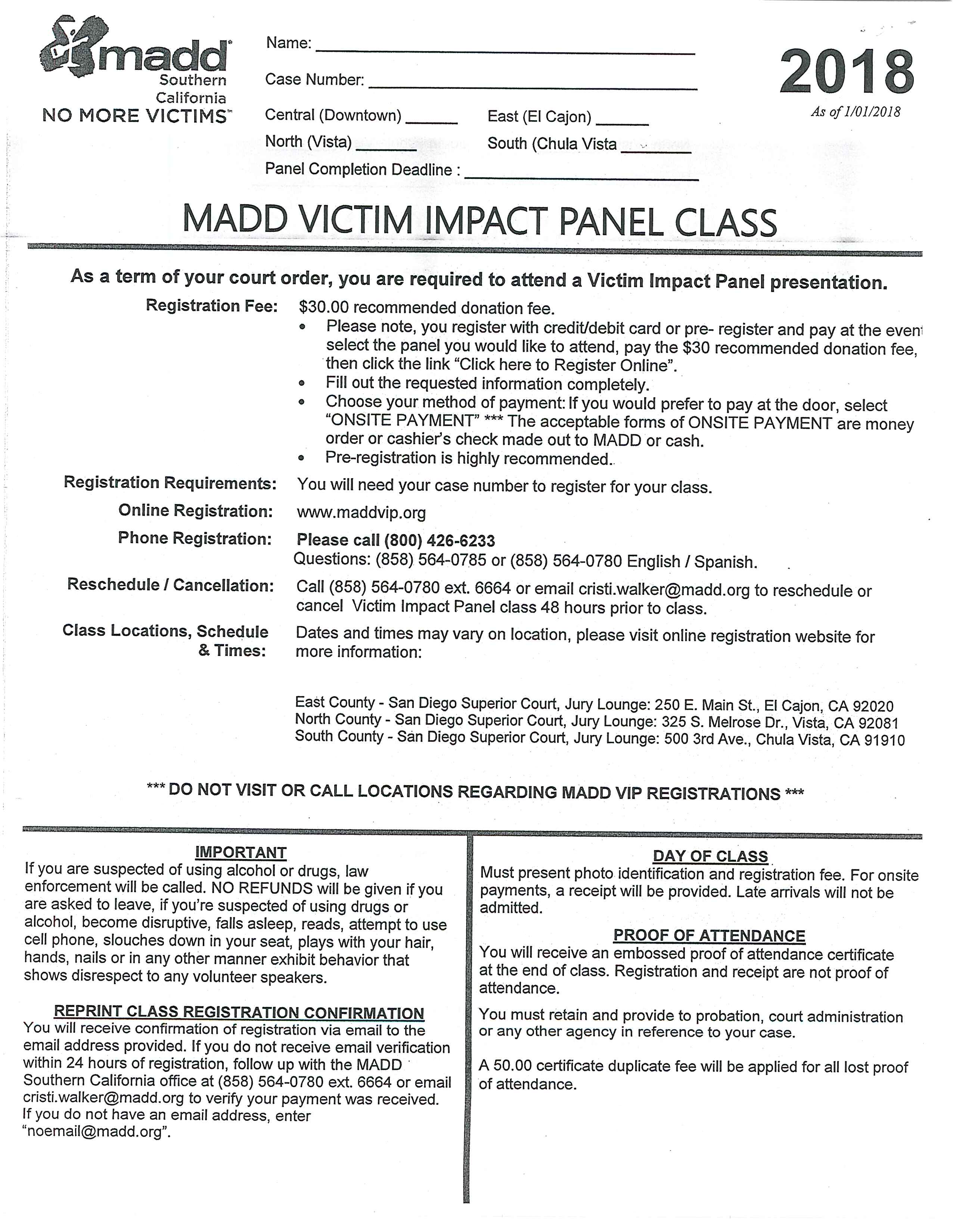 MADD DUI Completion Form